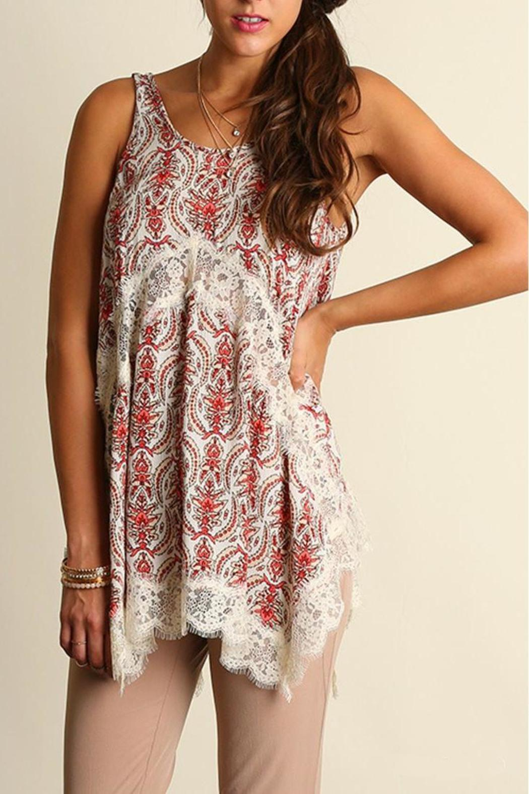 The Dressing Room Lace Coral Top - Main Image