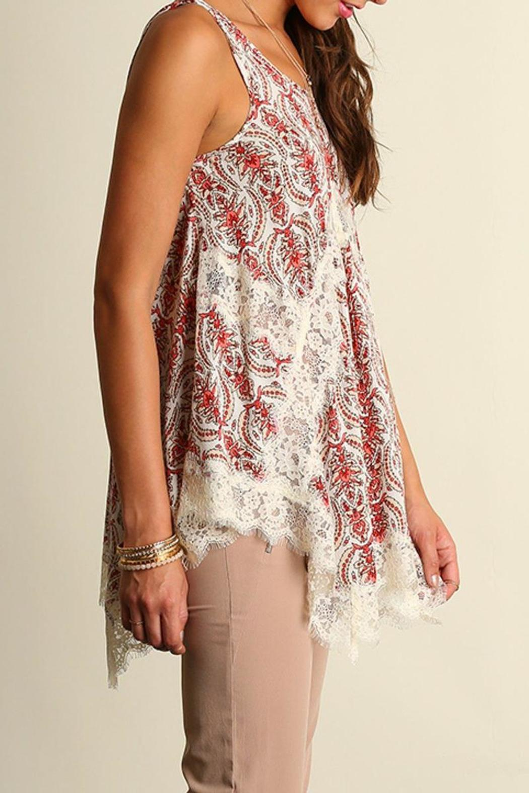 The Dressing Room Lace Coral Top - Side Cropped Image