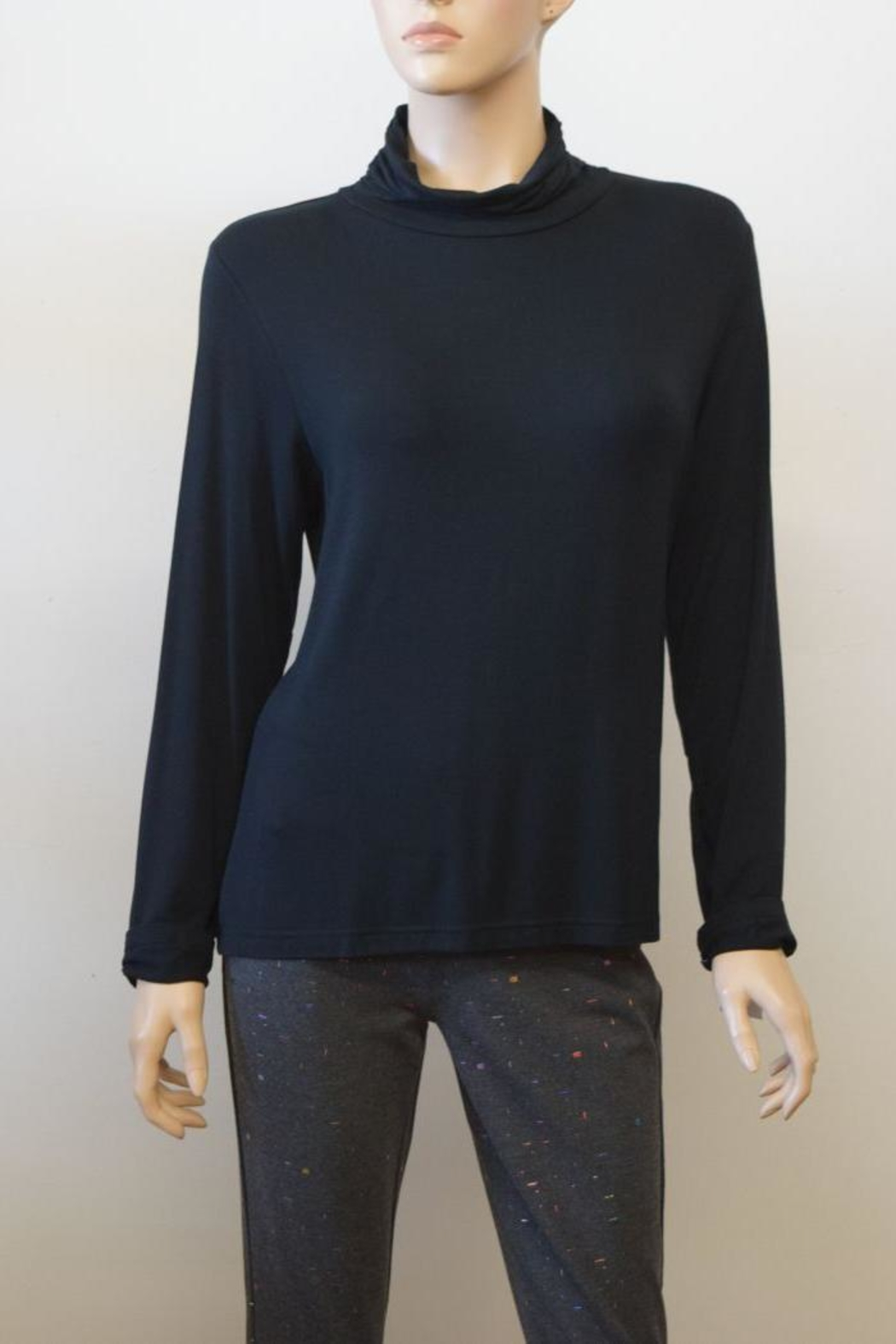 The Dressing Room Mock Neck Rouched - Front Cropped Image