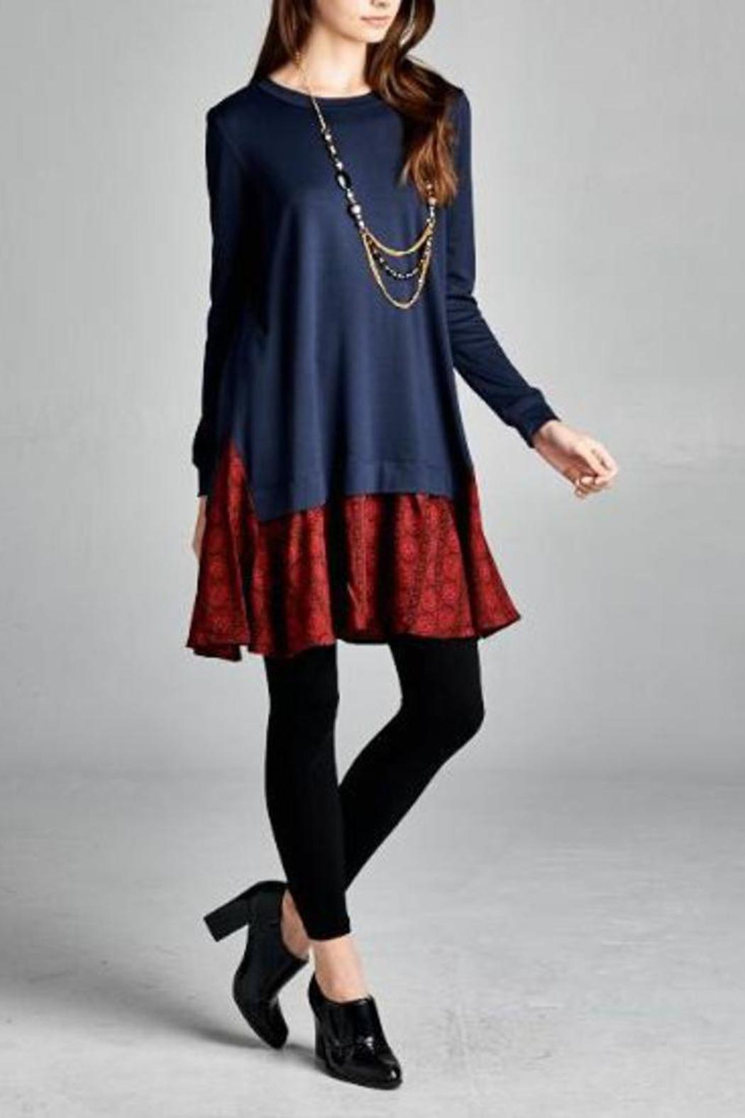The Dressing Room Navy Red Dress - Front Cropped Image