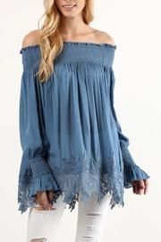 The Dressing Room Off Shoulder Blue - Front cropped