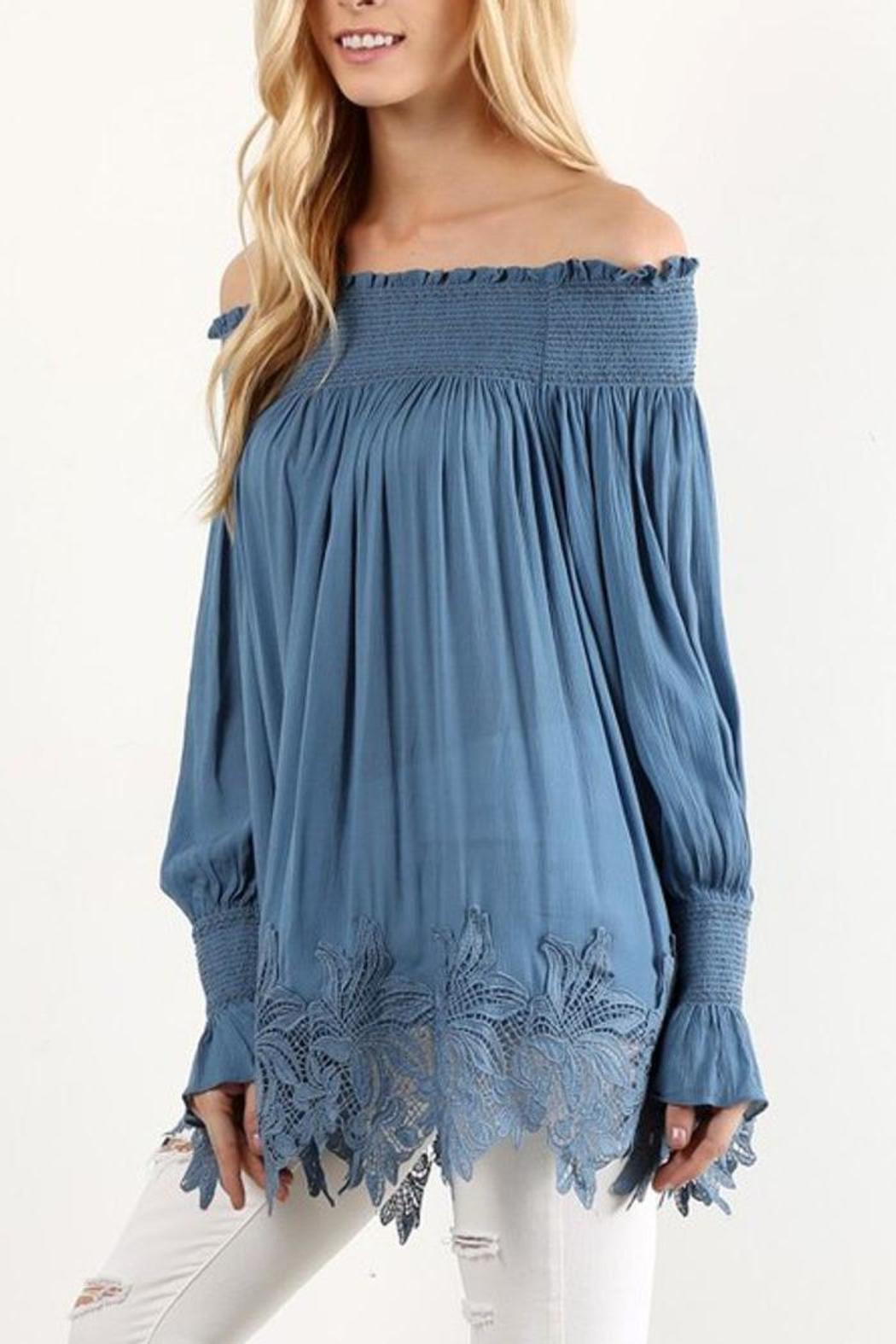 The Dressing Room Off Shoulder Blue - Side Cropped Image