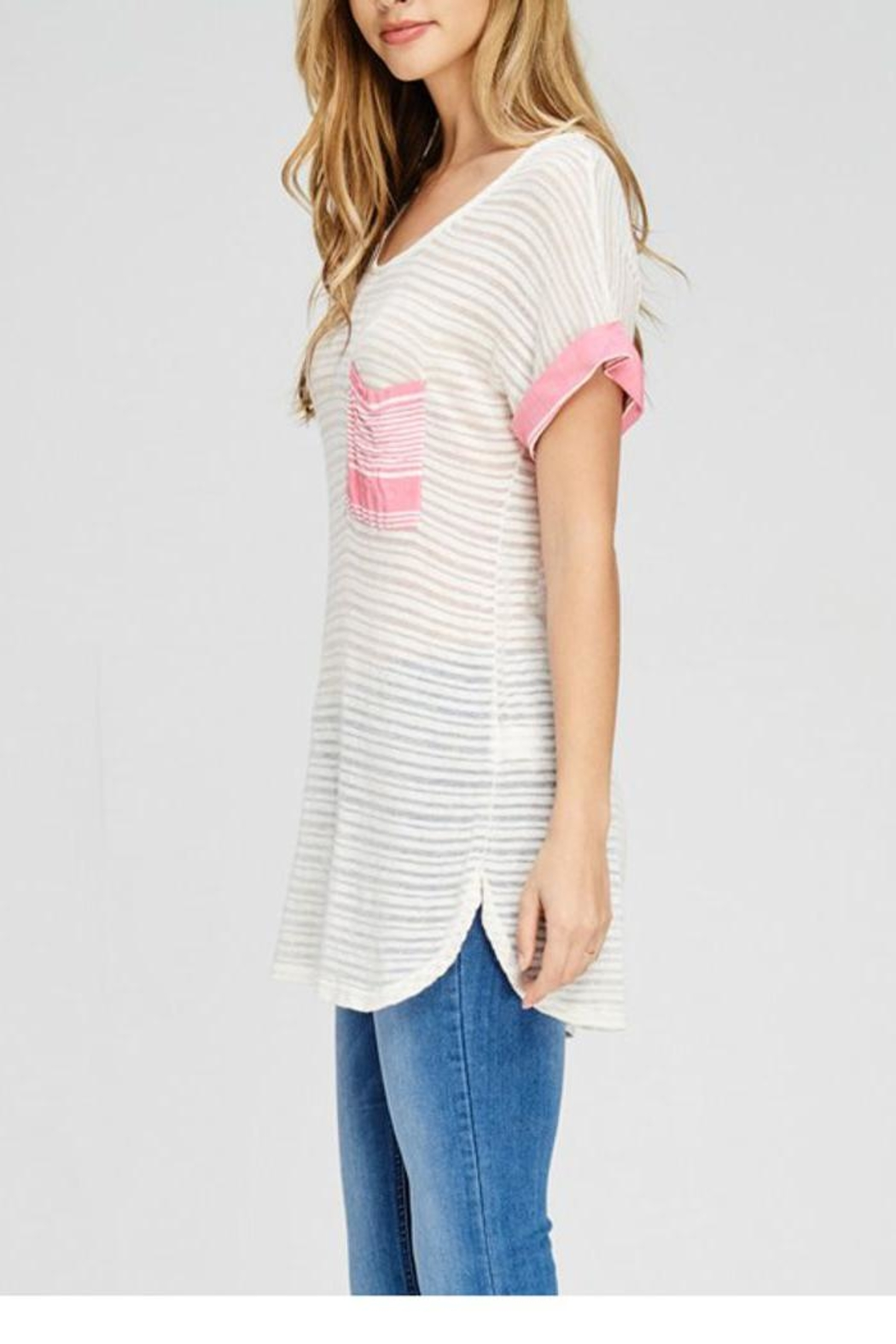 The Dressing Room Pink Pocket Tee - Front Full Image