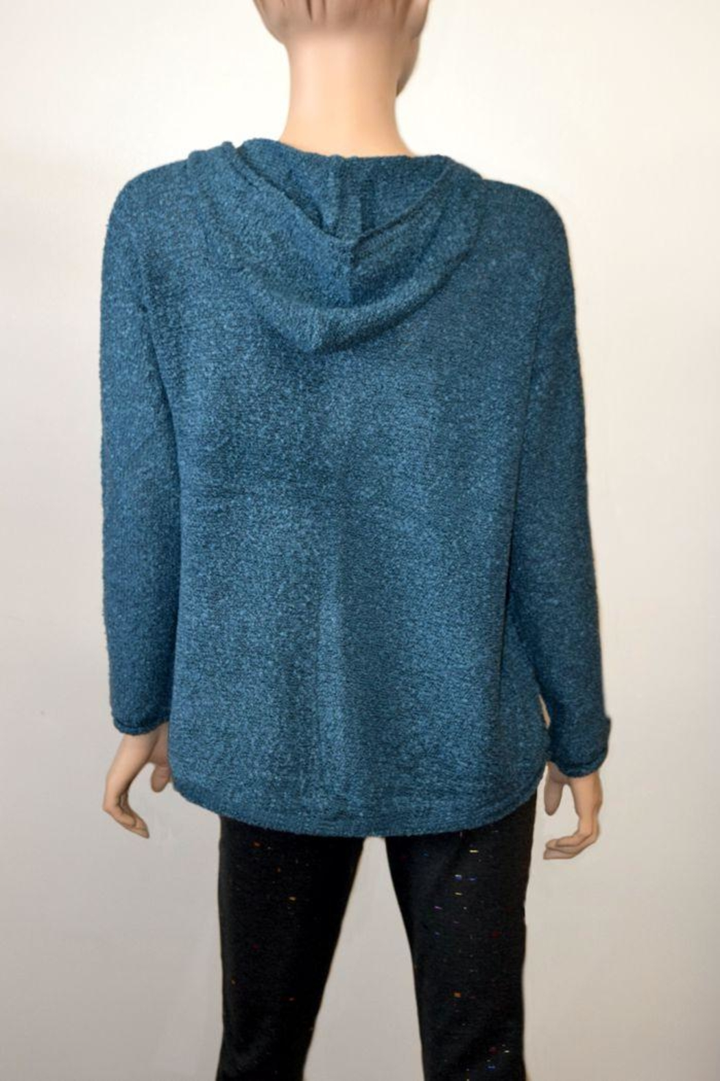 The Dressing Room Textured Blue Hoodie - Front Full Image