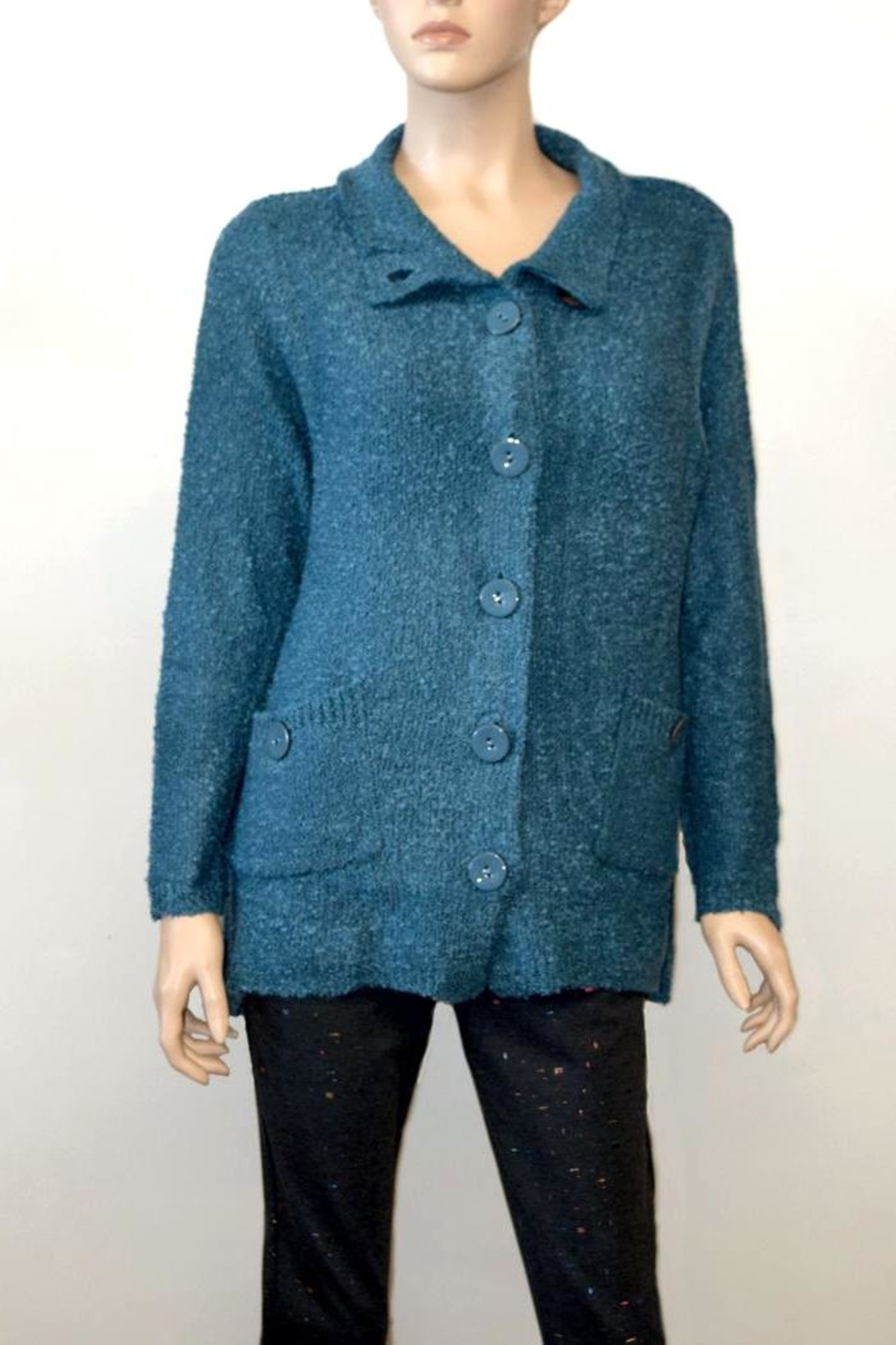 The Dressing Room Textured Blue Sweater - Main Image