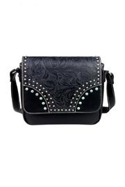 The Dressing Room Tooled Flap Handbag - Front cropped
