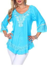 The Dressing Room Turquoise Ivory Beaded Top - Product Mini Image