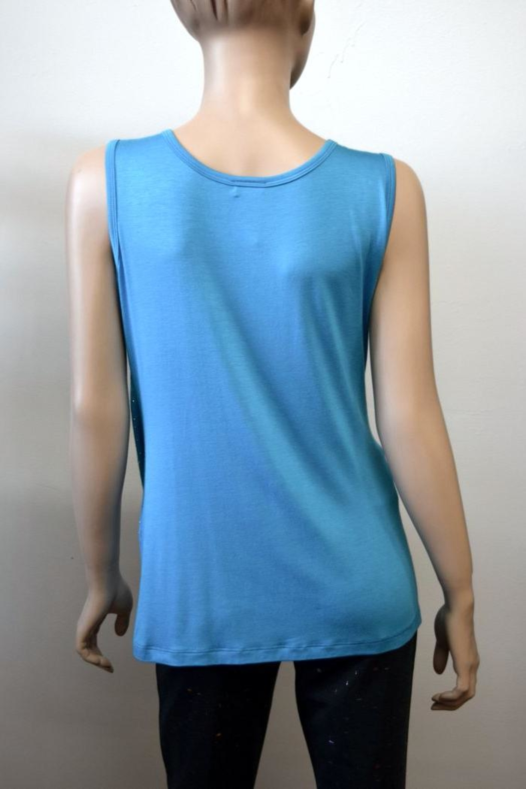 The Dressing Room Turquoise Rhinestone Tank - Front Full Image