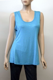 The Dressing Room Turquoise Rhinestone Tank - Front cropped