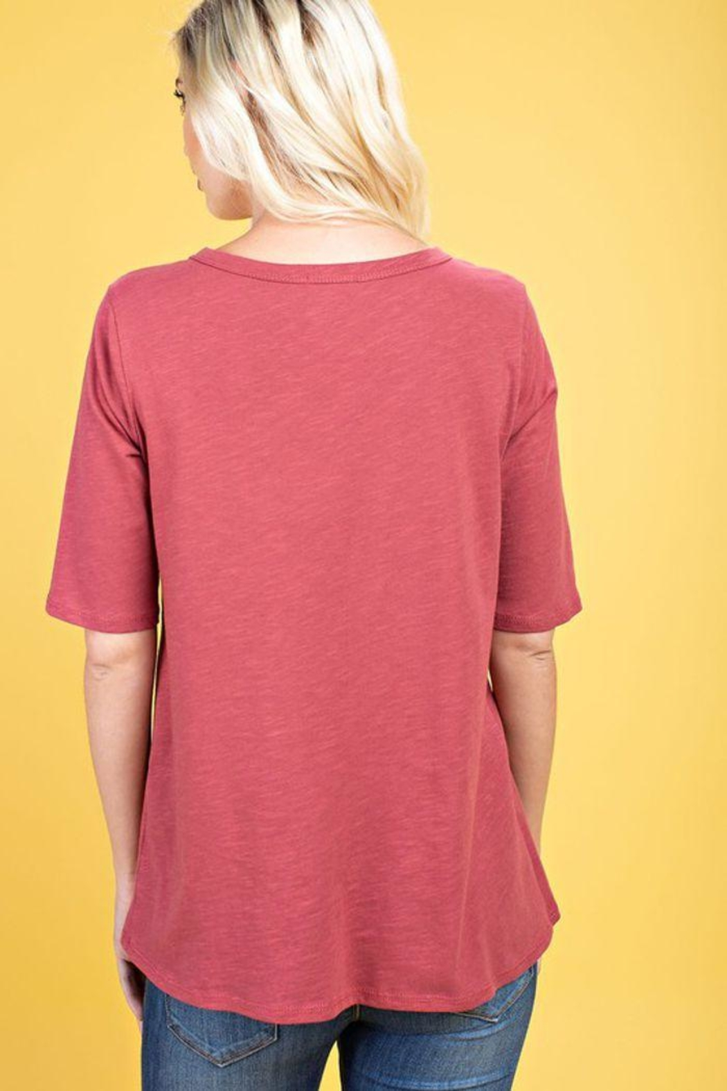 The Dressing Room Twist Neck Tee - Back Cropped Image