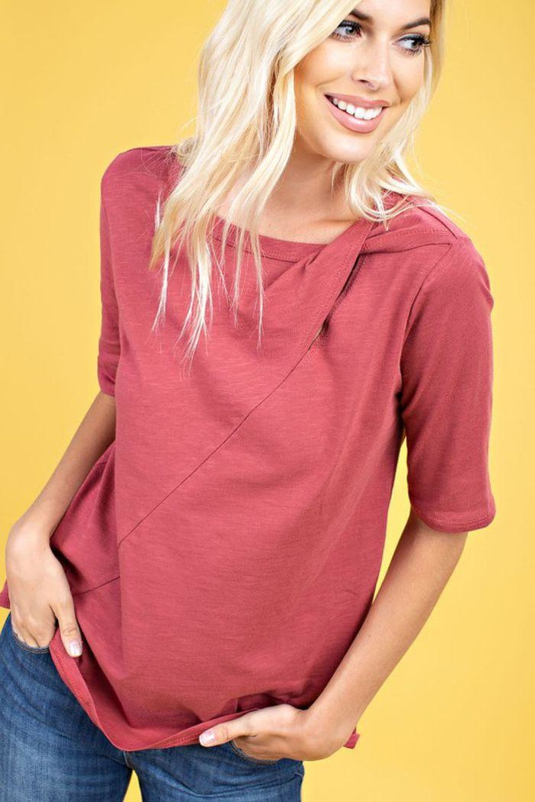 The Dressing Room Twist Neck Tee - Front Full Image