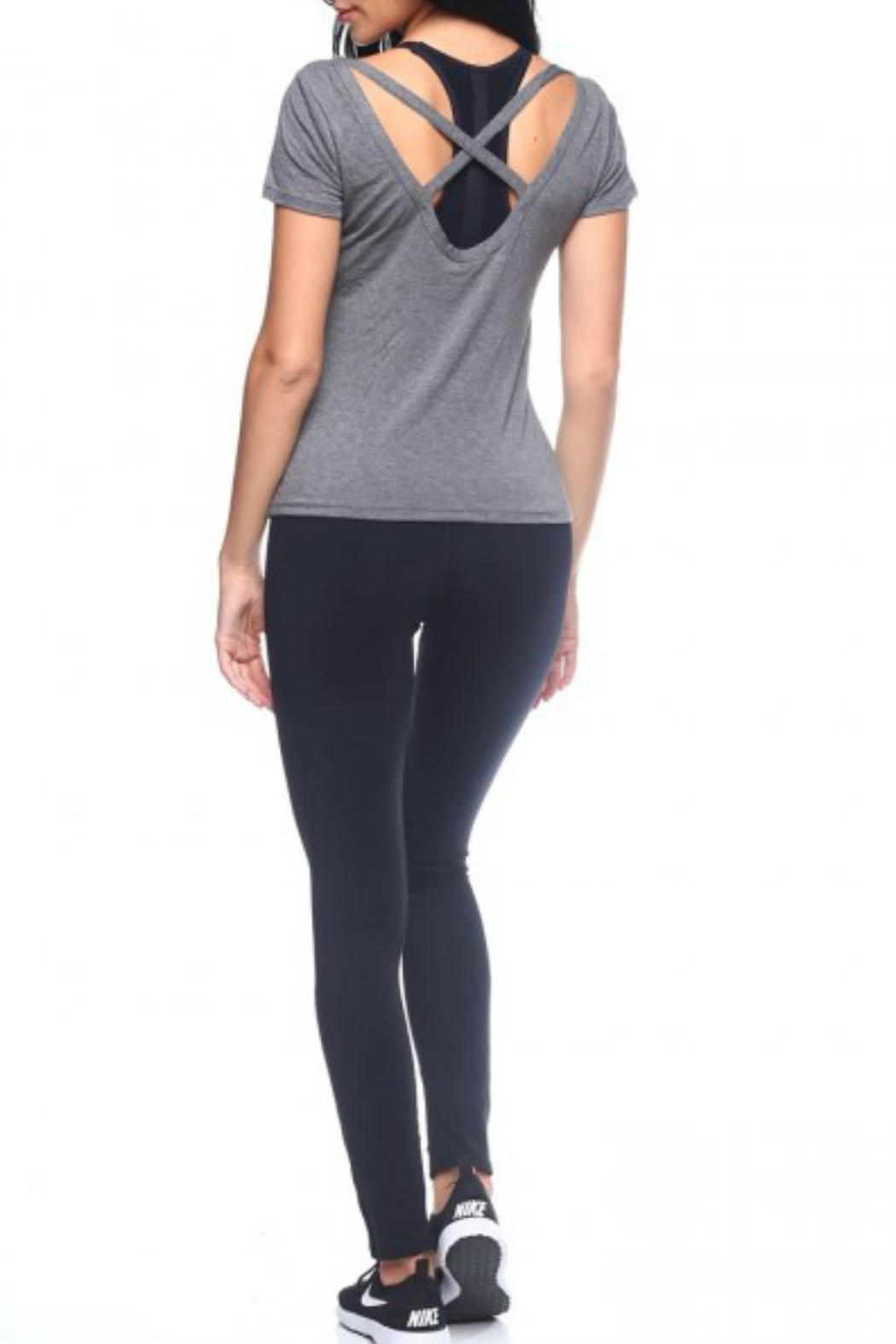THE FREE YOGA Crisscross Back Tee - Front Cropped Image