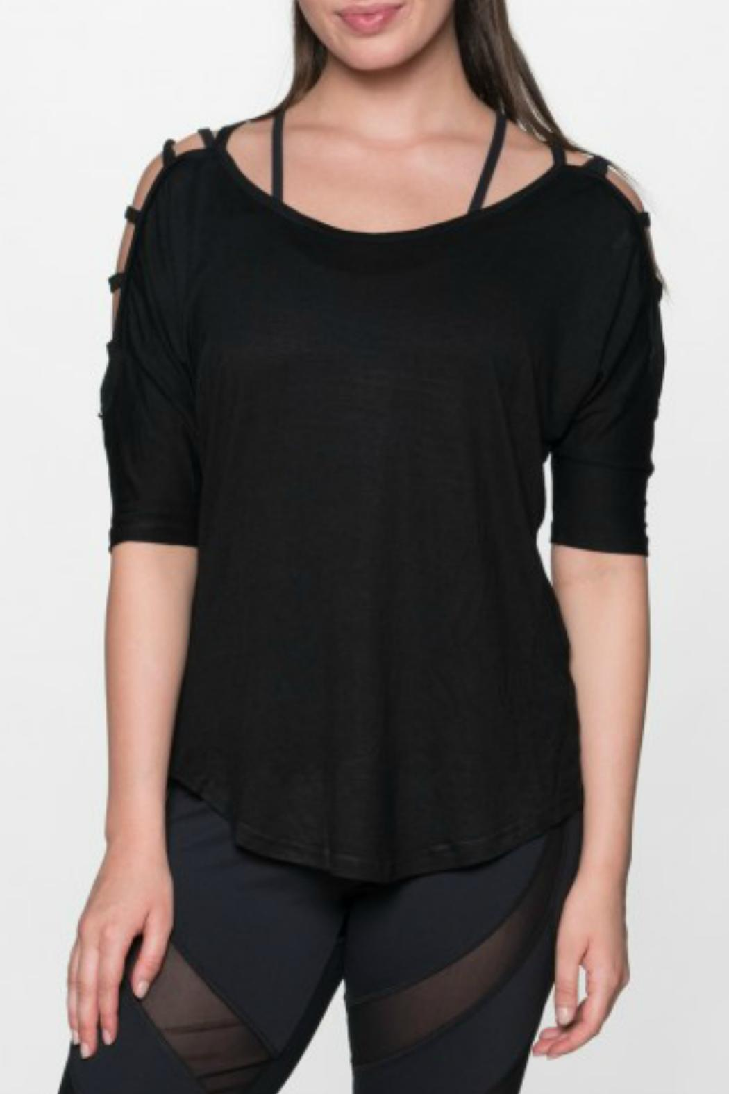 THE FREE YOGA Rocker Ladder Sleeve Top - Front Full Image