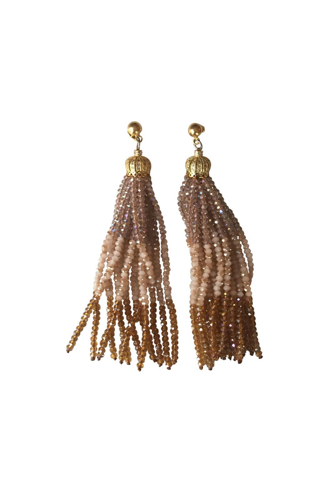 The French Martini Bead Tassel Earrings - Main Image