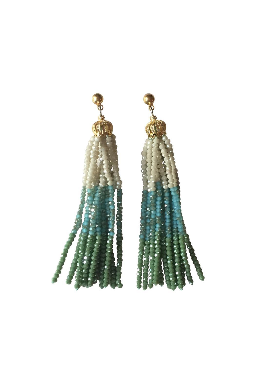 The French Martini Bead Tassel Earrings - Front Cropped Image