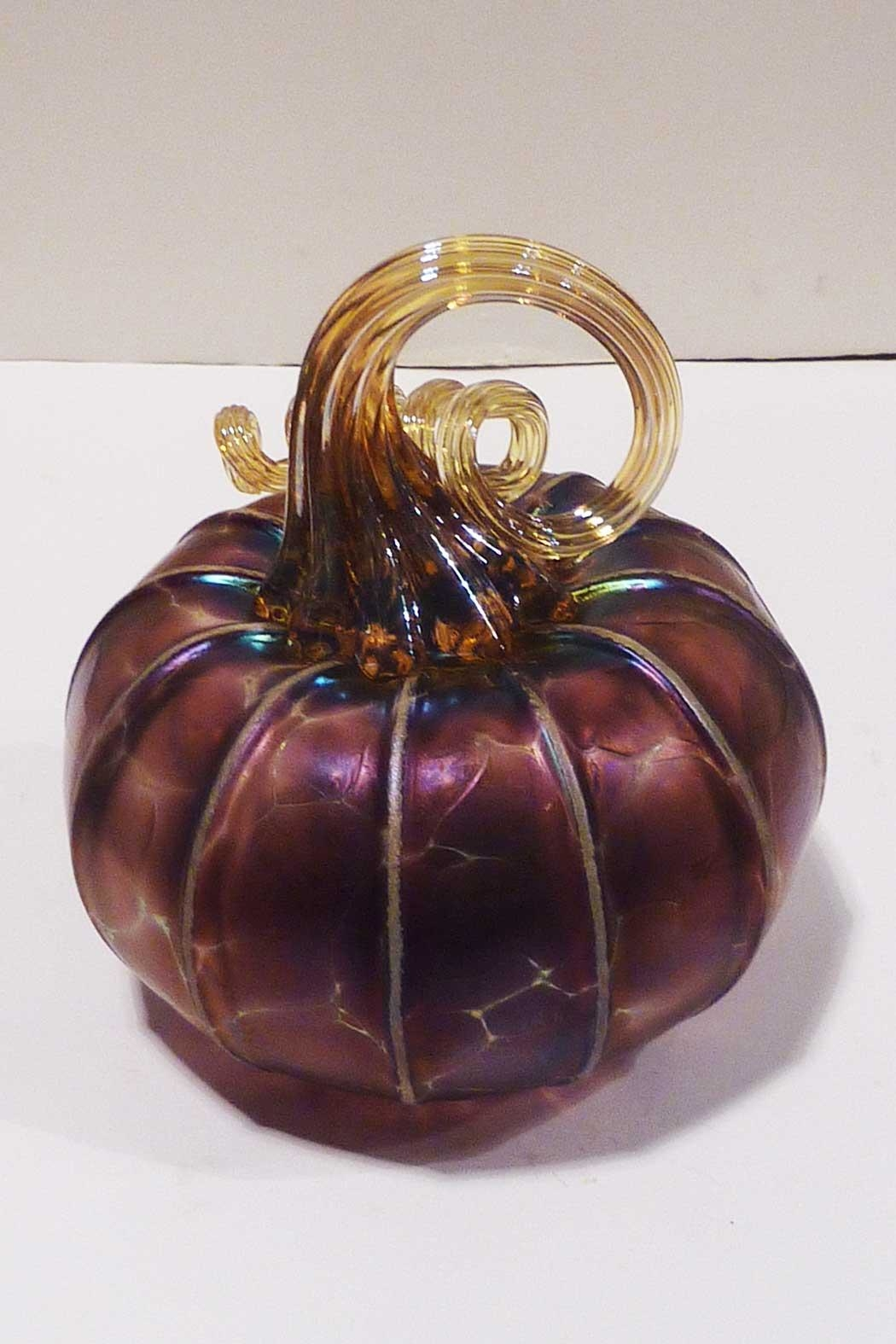 The Furnace: A Glassworks  Amethyst Glass Pumpkin - Front Full Image