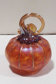 The Furnace: A Glassworks  Tangelo Glass Pumpkin - Front full body
