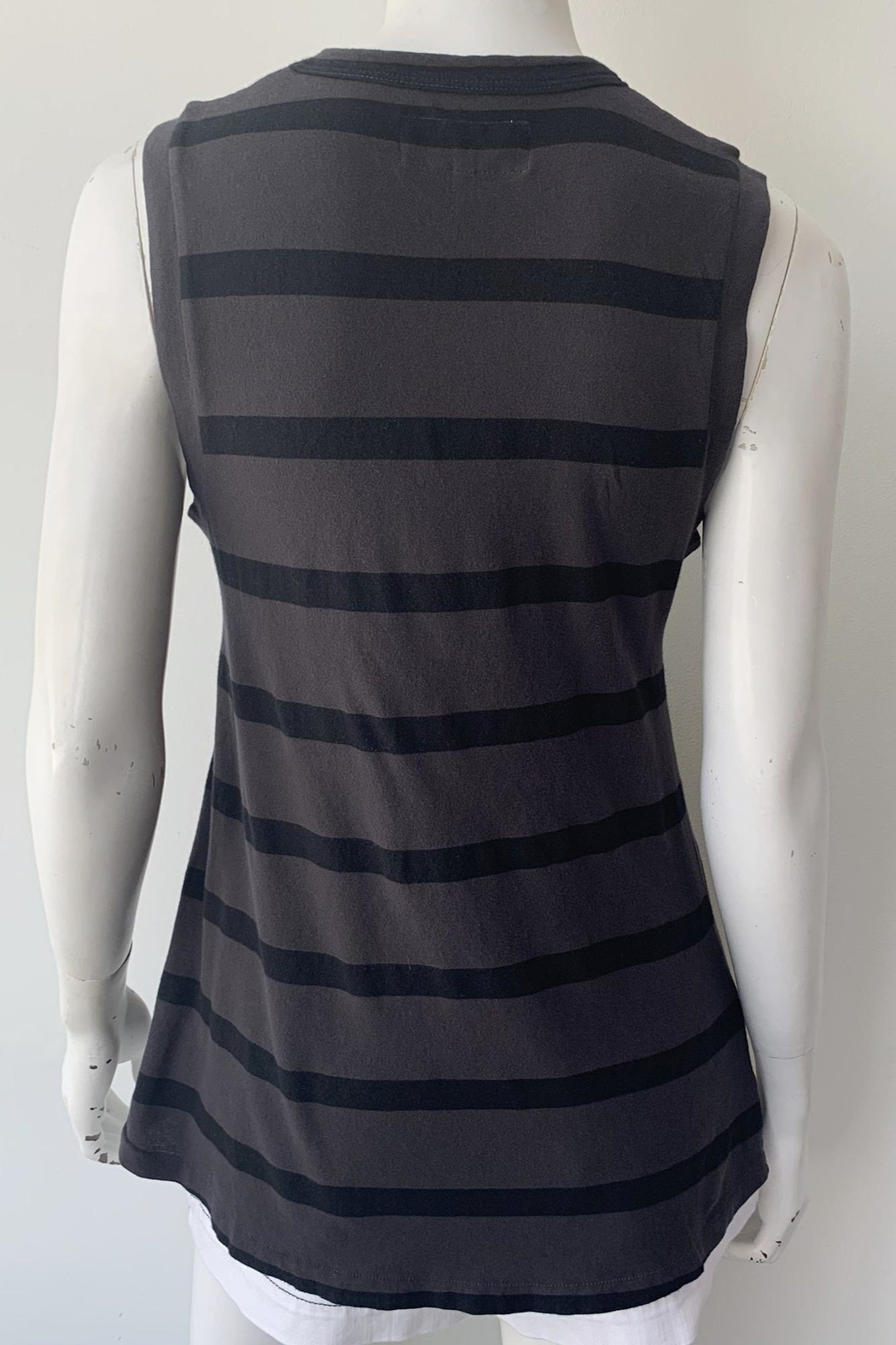 The Great Sleeveless Striped Crew - Back Cropped Image