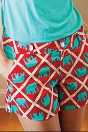 The Haley Boutique Red Bamboo-Elephant Shorts - Front full body