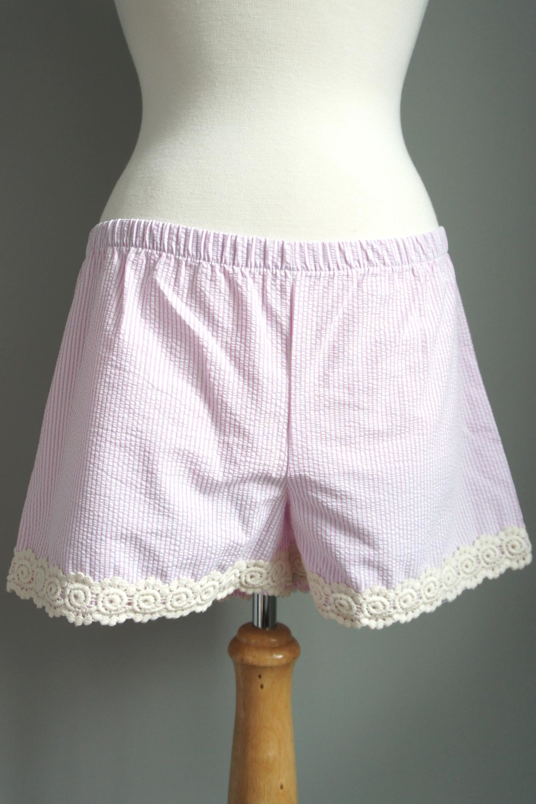 The Haley Boutique Searsucker Lace-Hemmed Shorts - Main Image