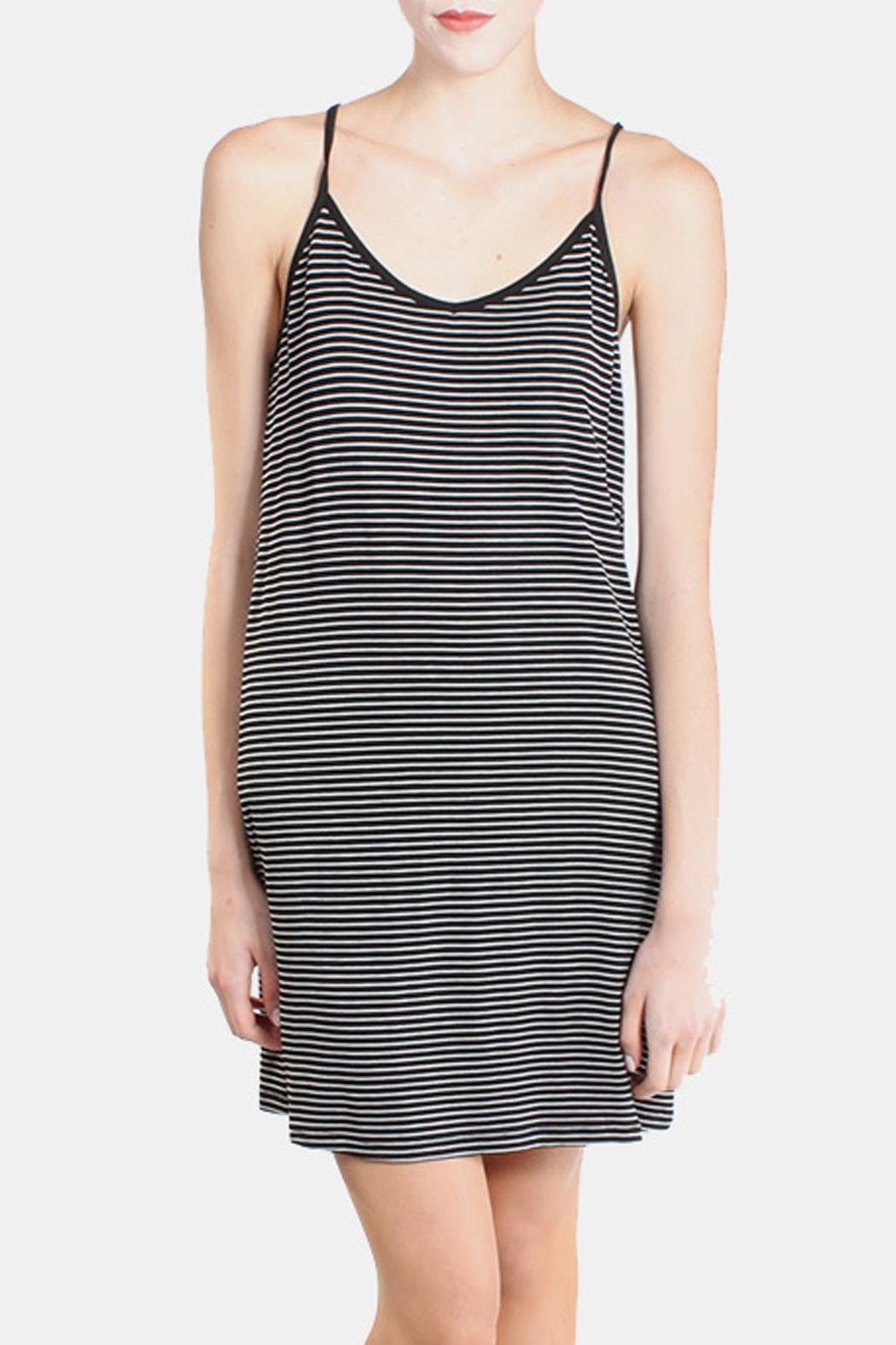 the Hanger Black Striped Cami Dress - Front Full Image