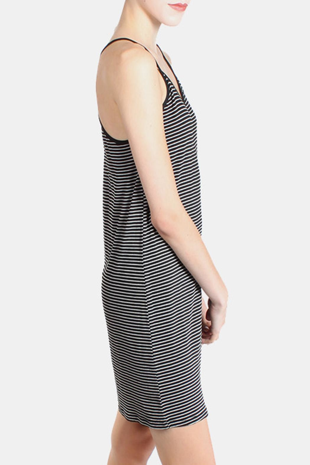the Hanger Black Striped Cami Dress - Side Cropped Image