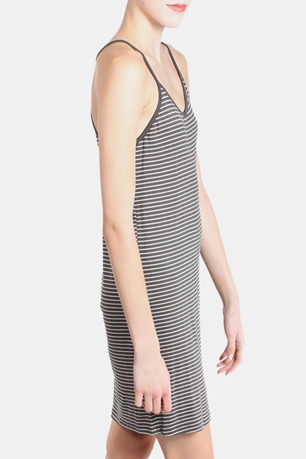 the Hanger Charcoal Striped Cami Dress - Front Full Image