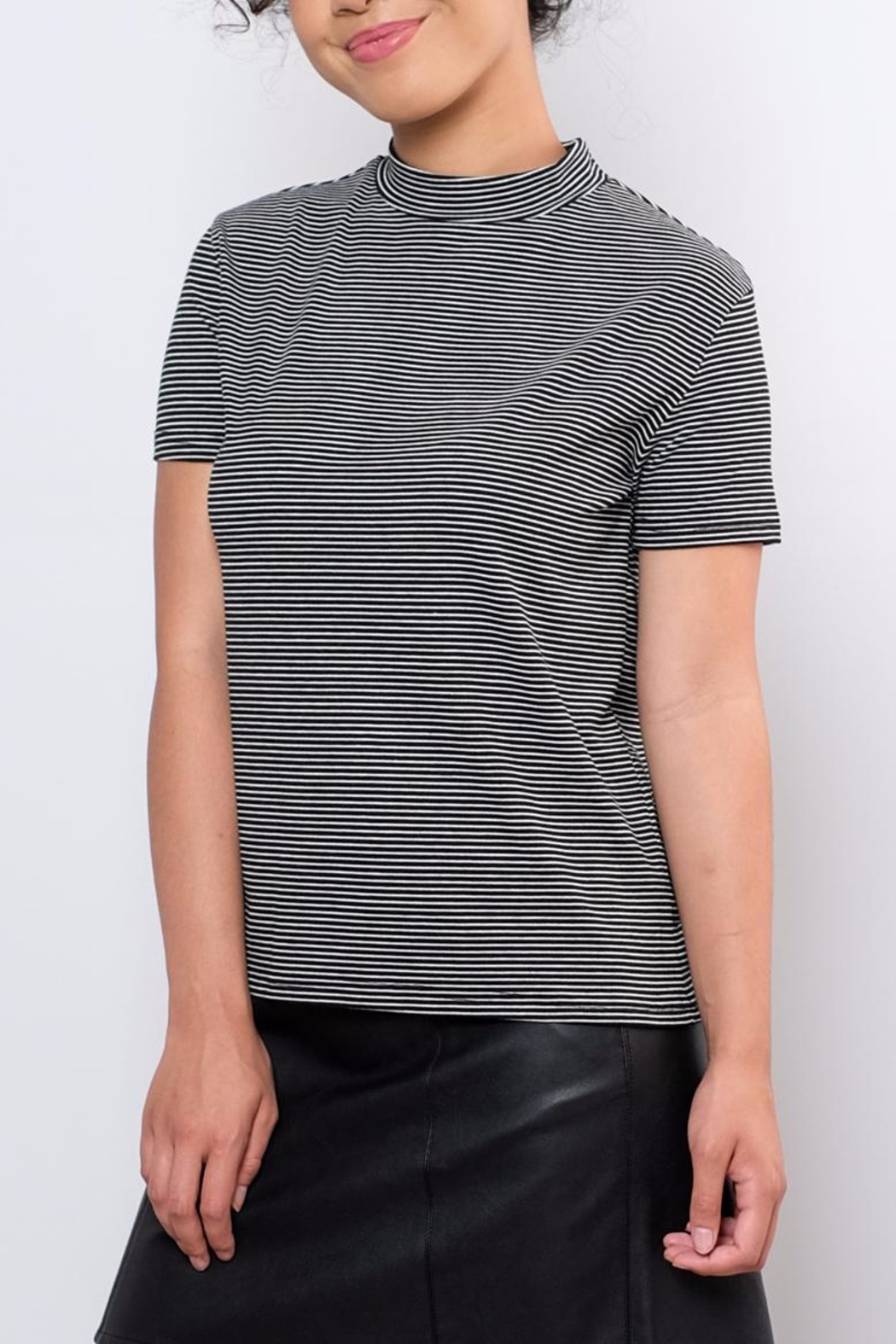 the Hanger Striped Mock Neck Top - Front Full Image