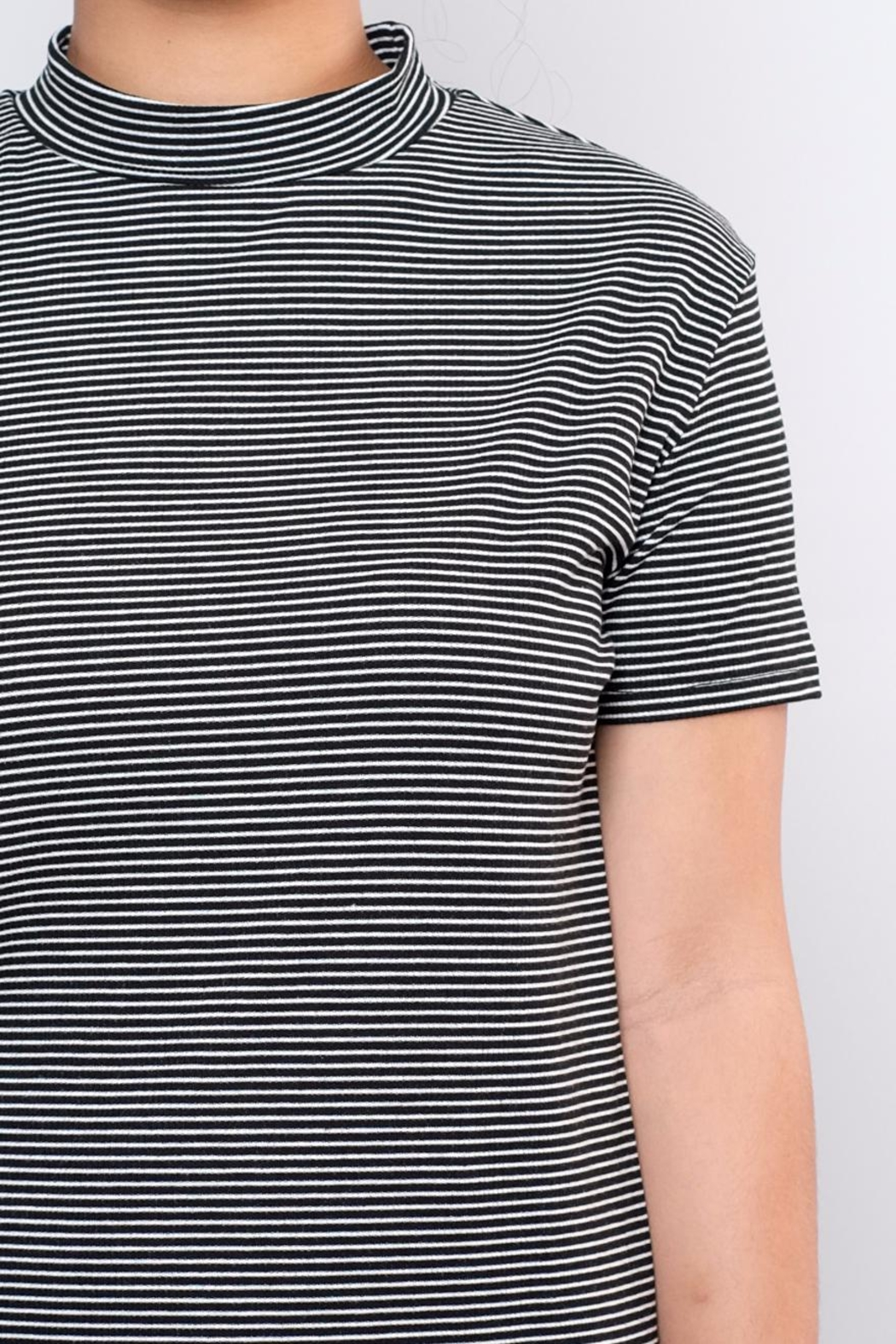 the Hanger Striped Mock Neck Top - Back Cropped Image