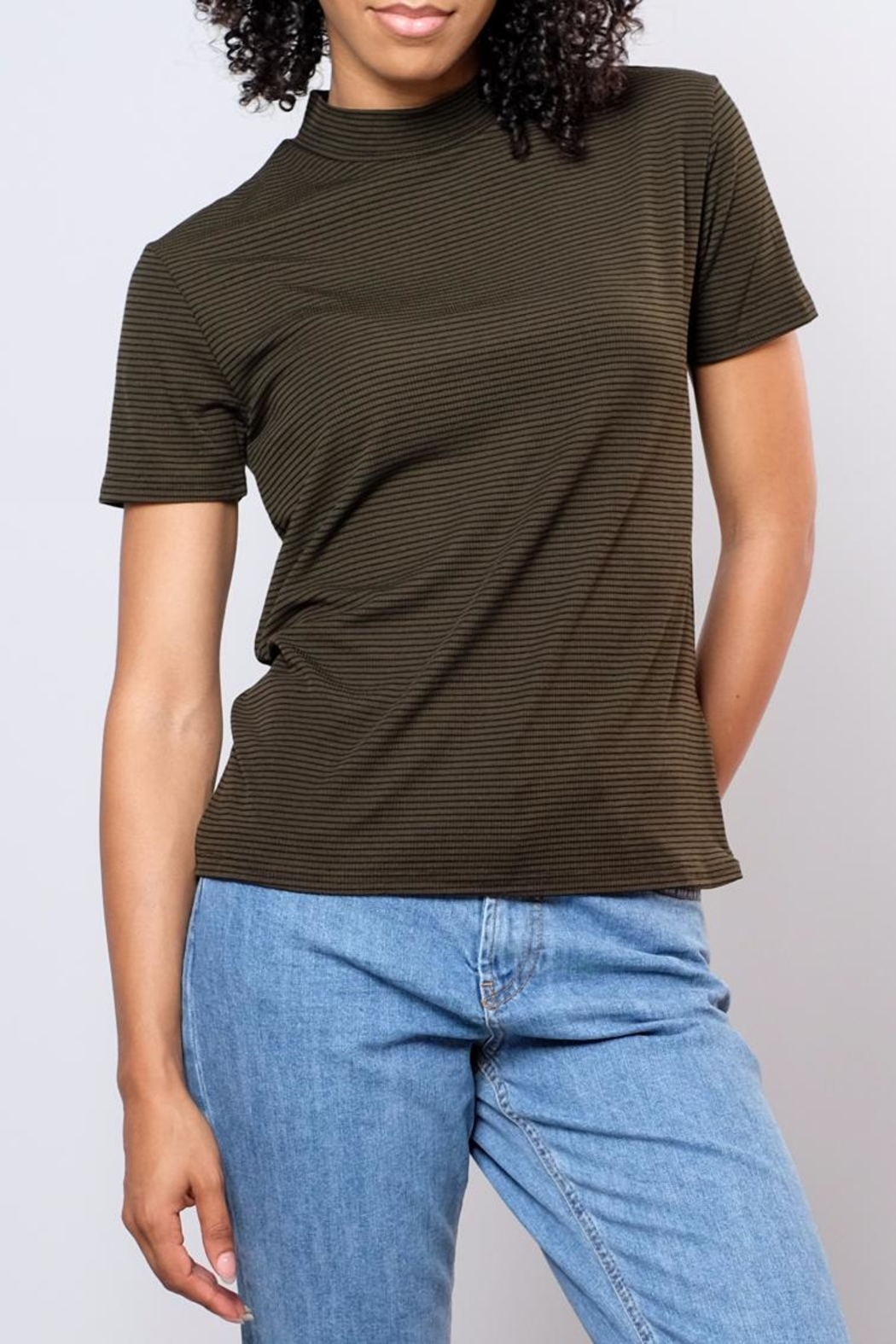 the Hanger Striped Mock Neck Top - Main Image