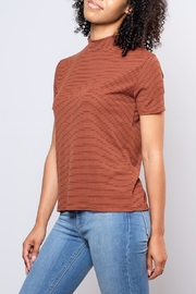 the Hanger Striped Mock Neck Top - Front full body