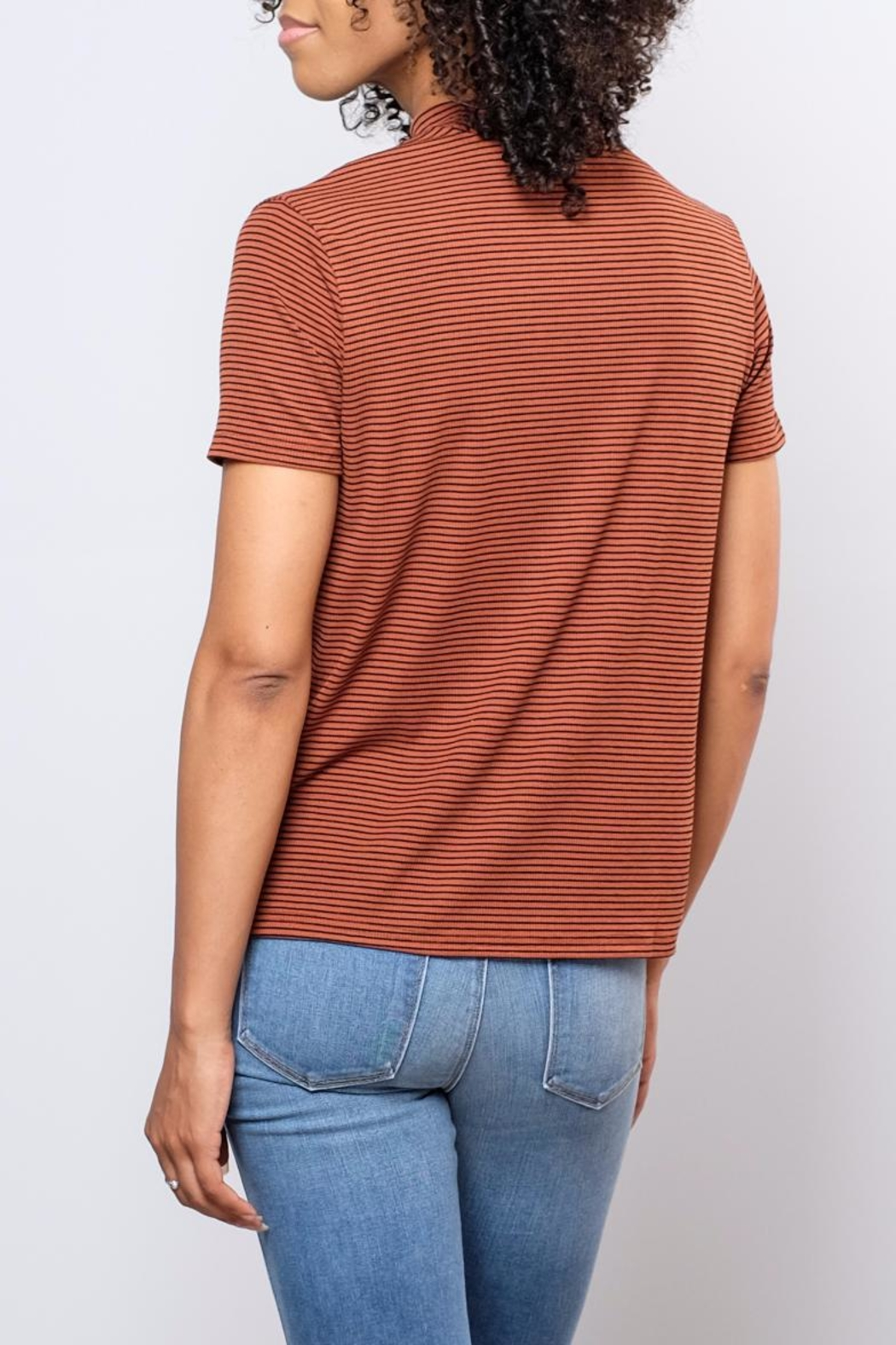 the Hanger Striped Mock Neck Top - Side Cropped Image