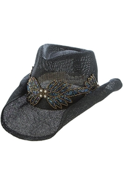 The Hatter Company Beaded Leaf-Accent Hat - Front cropped