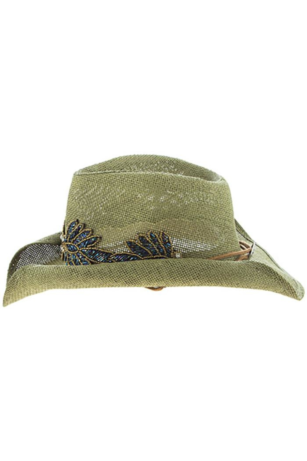 The Hatter Company Beaded Leaf-Accent Hat - Back Cropped Image