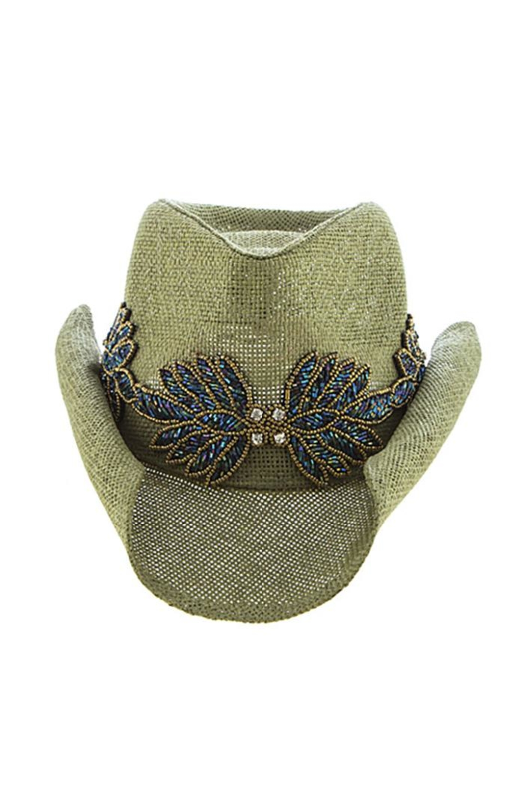 The Hatter Company Beaded Leaf-Accent Hat - Front Cropped Image