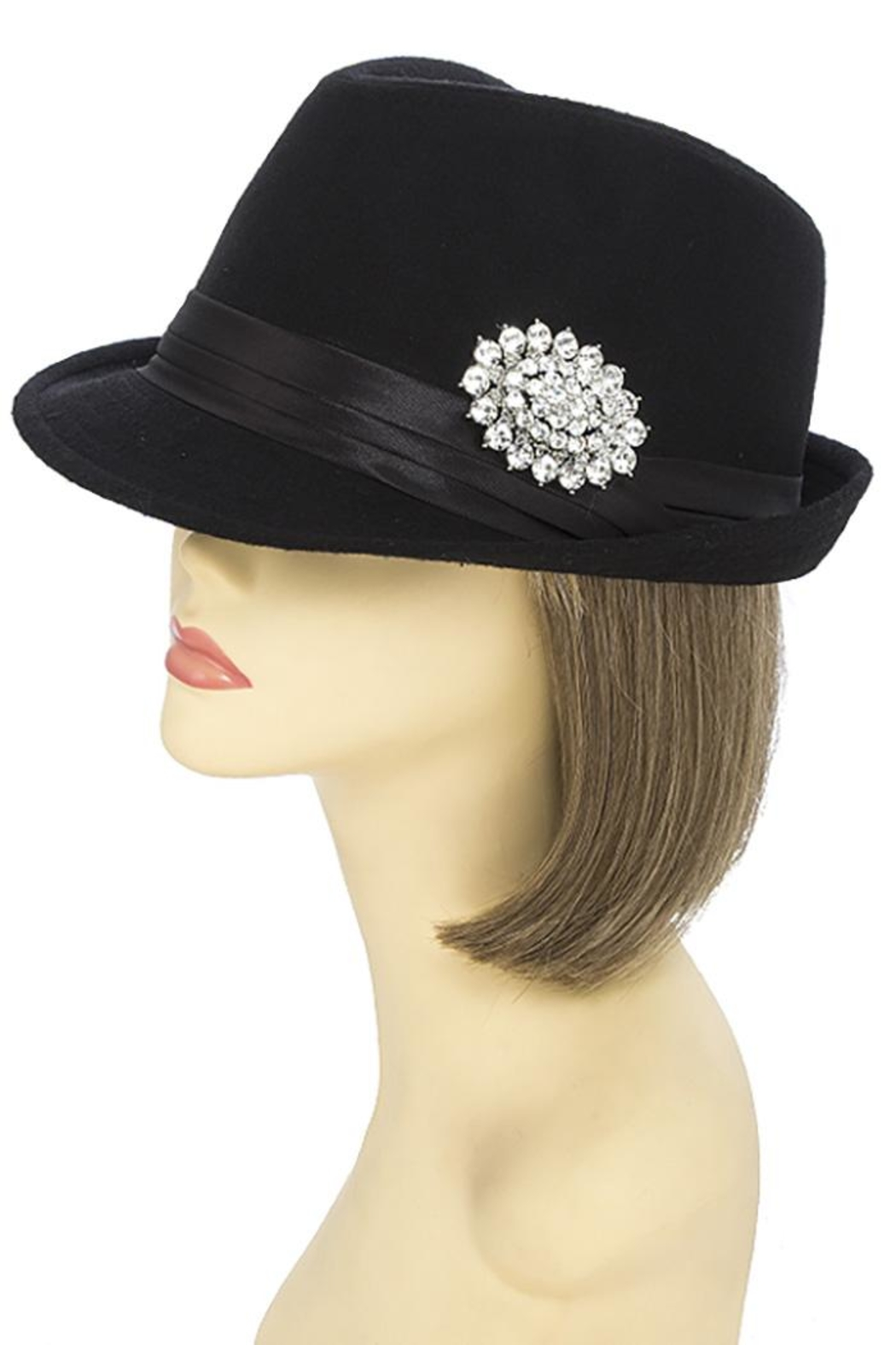 The Hatter Company Faux Jeweled Fedora - Front Full Image