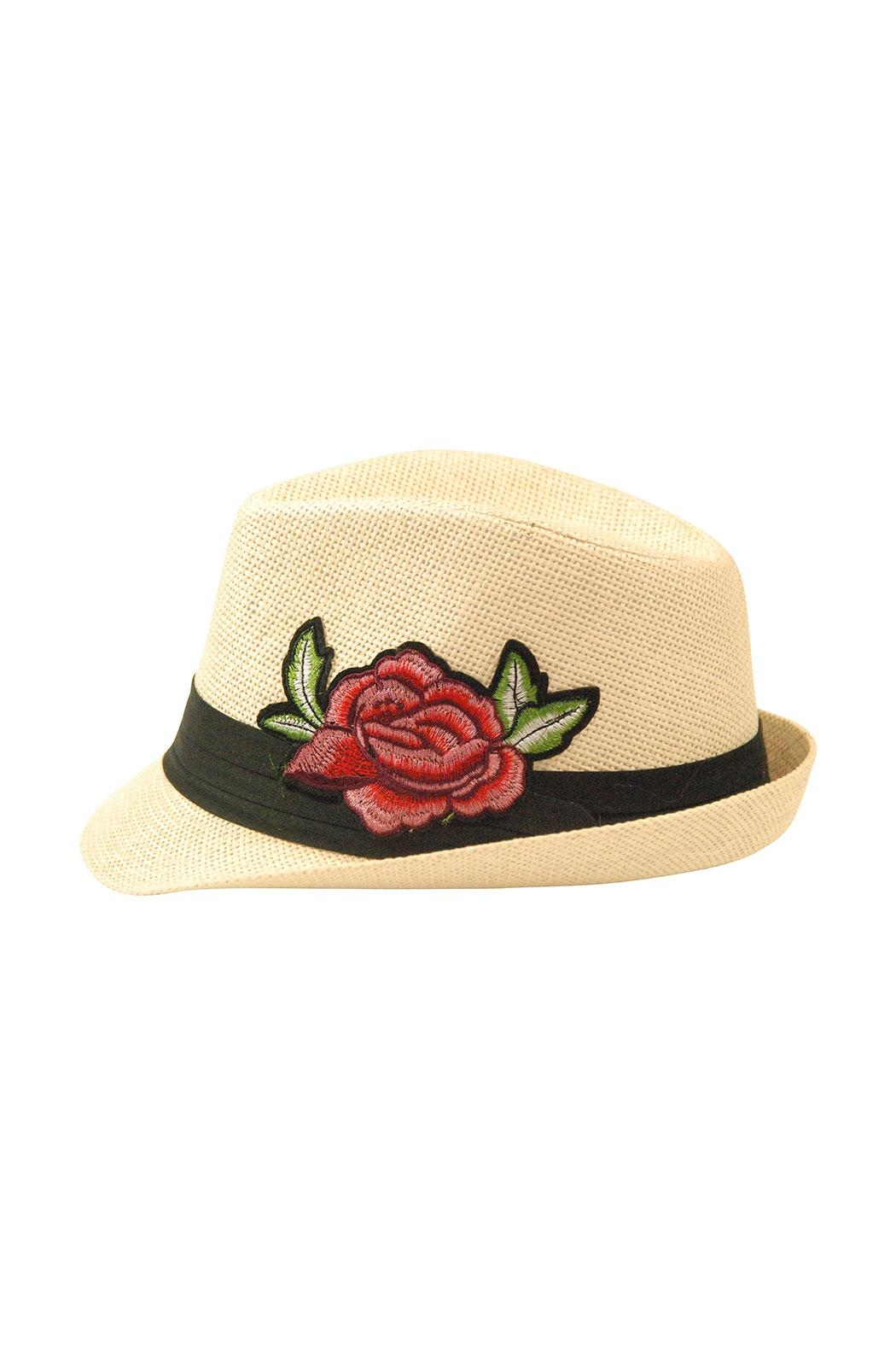 The Hatter Company Floral Patch Fedora Hat - Main Image