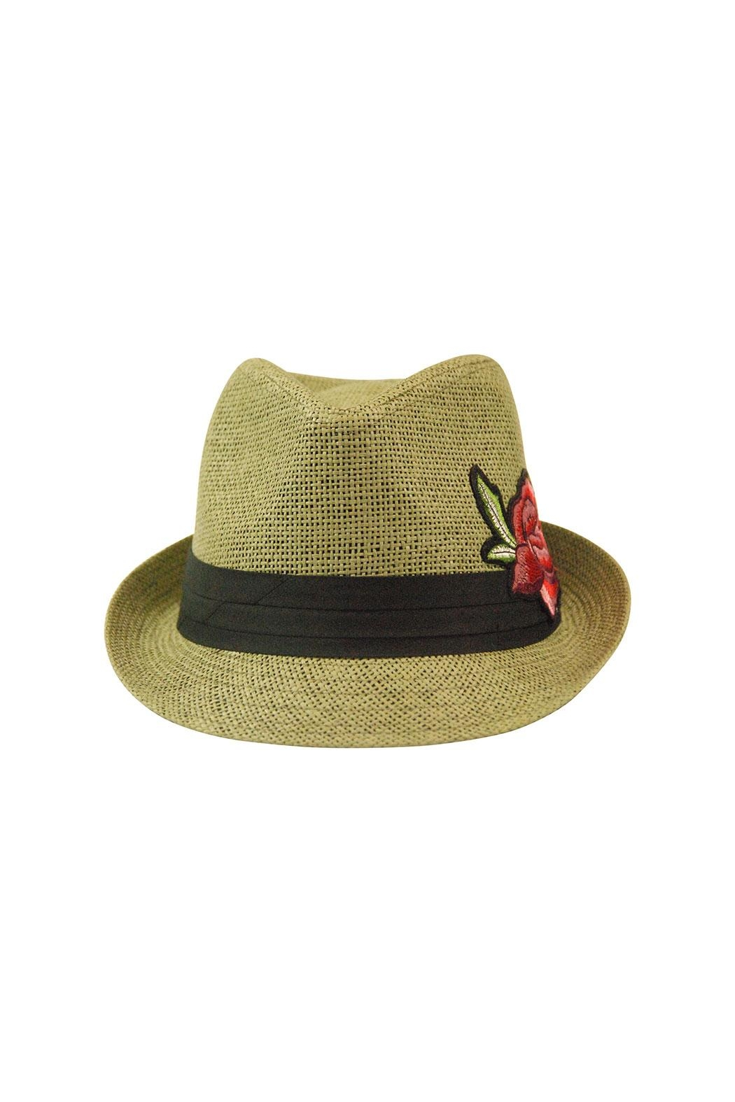 The Hatter Company Floral Patch Fedora Hat - Front Full Image