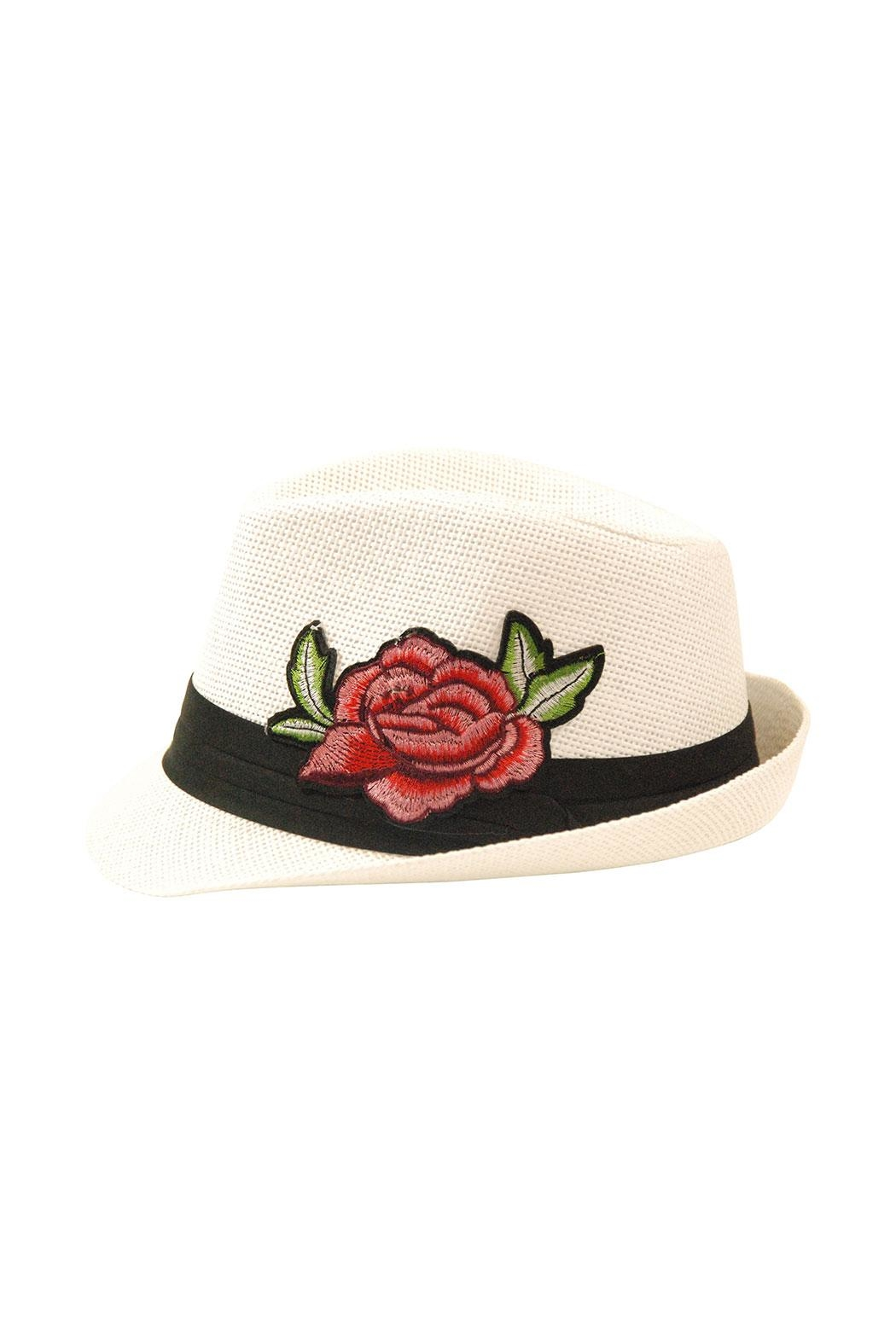 The Hatter Company Floral Patch Fedora Hat - Front Cropped Image