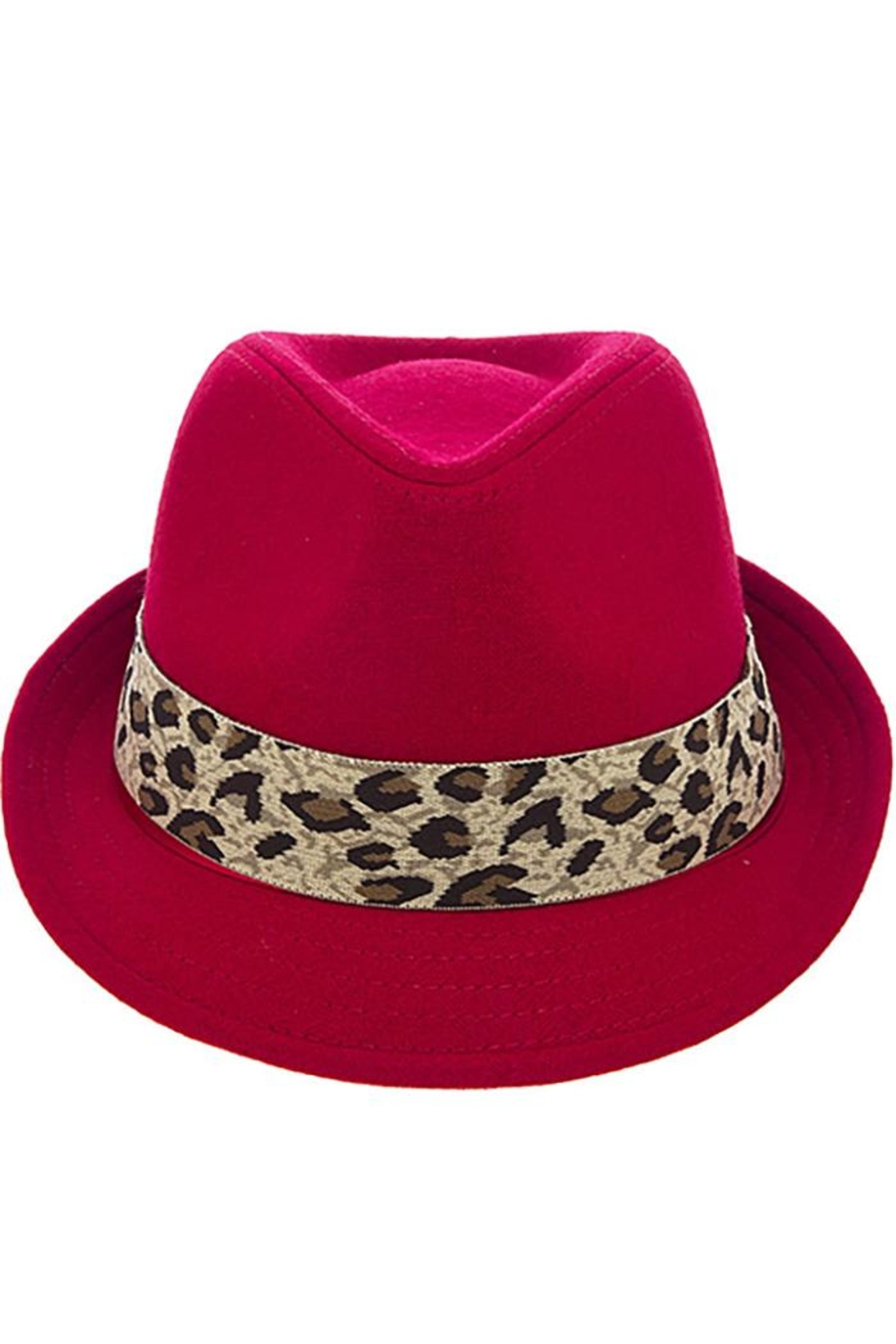 The Hatter Company Leopard Print Band-Fedora - Front Cropped Image
