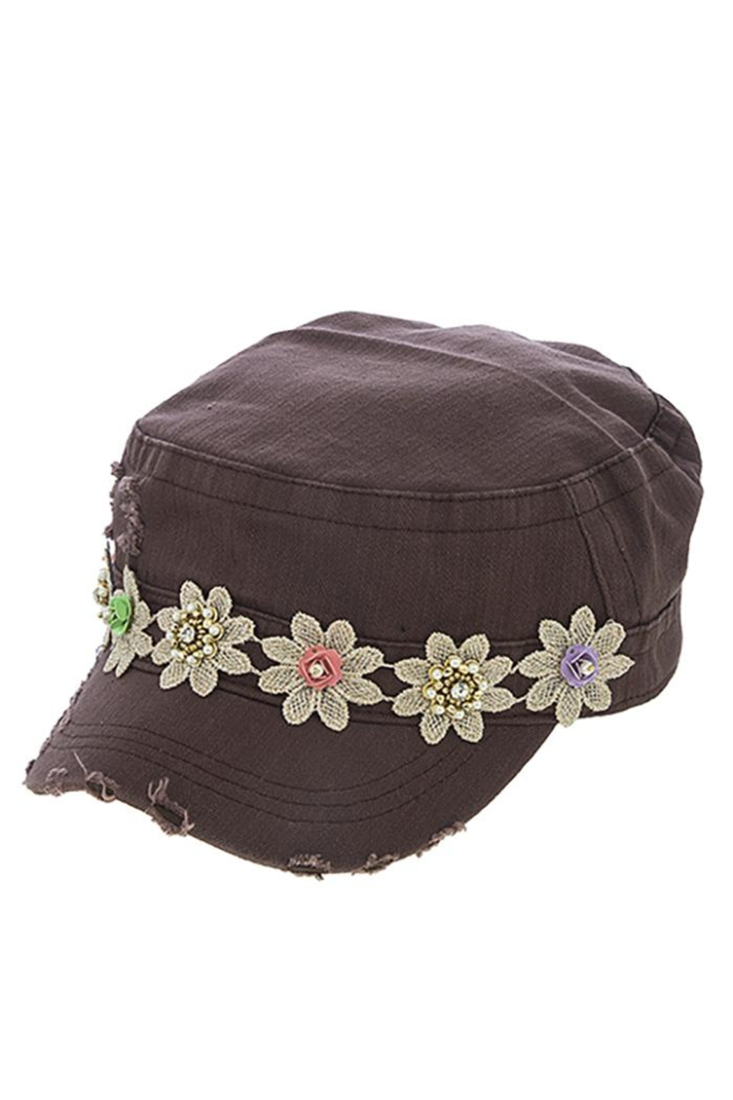 The Hatter Company Striped Flower Military-Hat - Front Cropped Image
