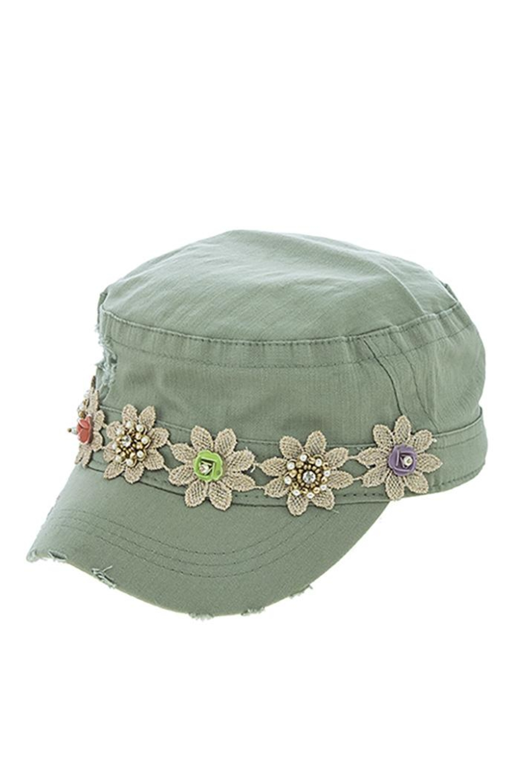 The Hatter Company Striped Flower Military-Hat - Front Full Image