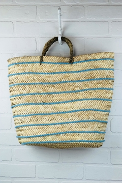 The House of Perna Striped Straw Tote - Alternate List Image
