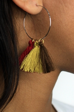 The House of Perna Tassel Hoop Earrings - Alternate List Image