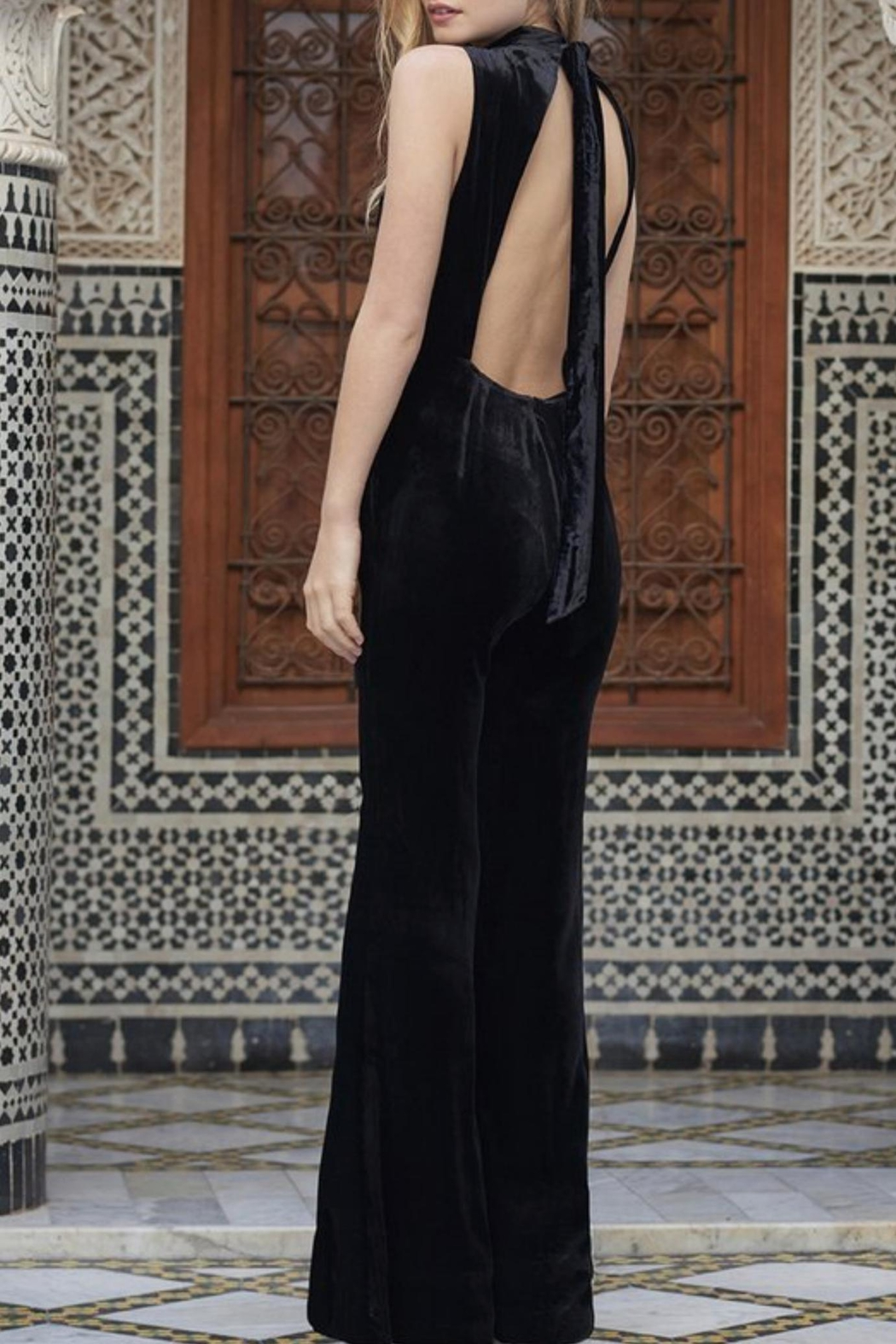 The JetSet Diaries Velvet Black Jumpsuit - Front Full Image