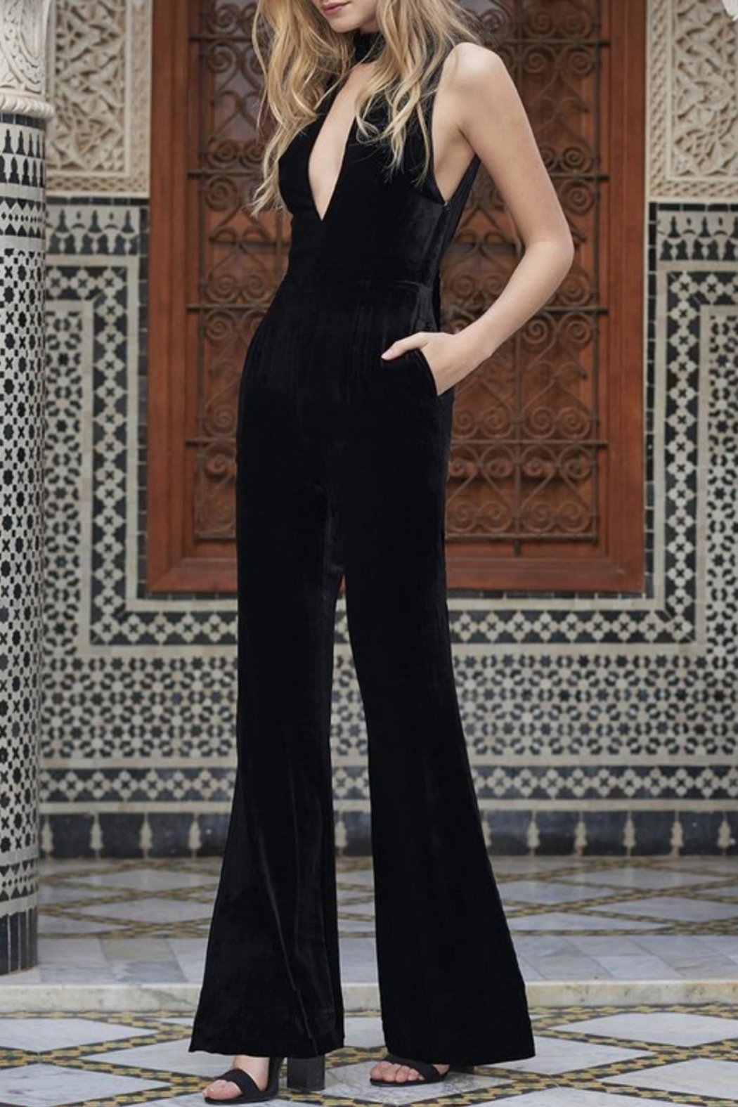 The JetSet Diaries Velvet Black Jumpsuit - Front Cropped Image