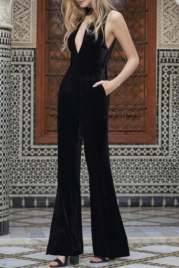 The JetSet Diaries Velvet Black Jumpsuit - Main Image