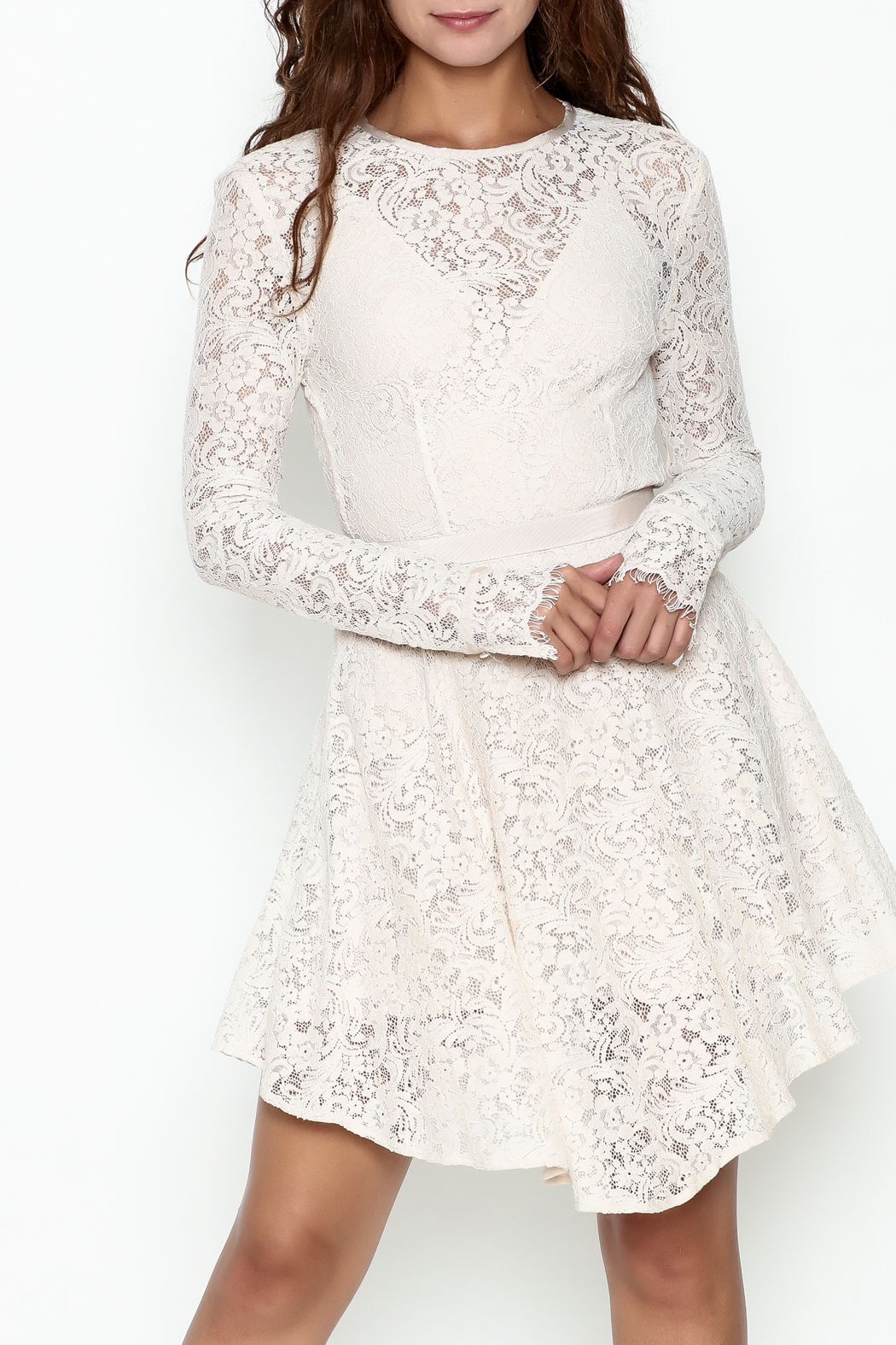 The JetSet Diaries Lace Mini Dress - Front Cropped Image