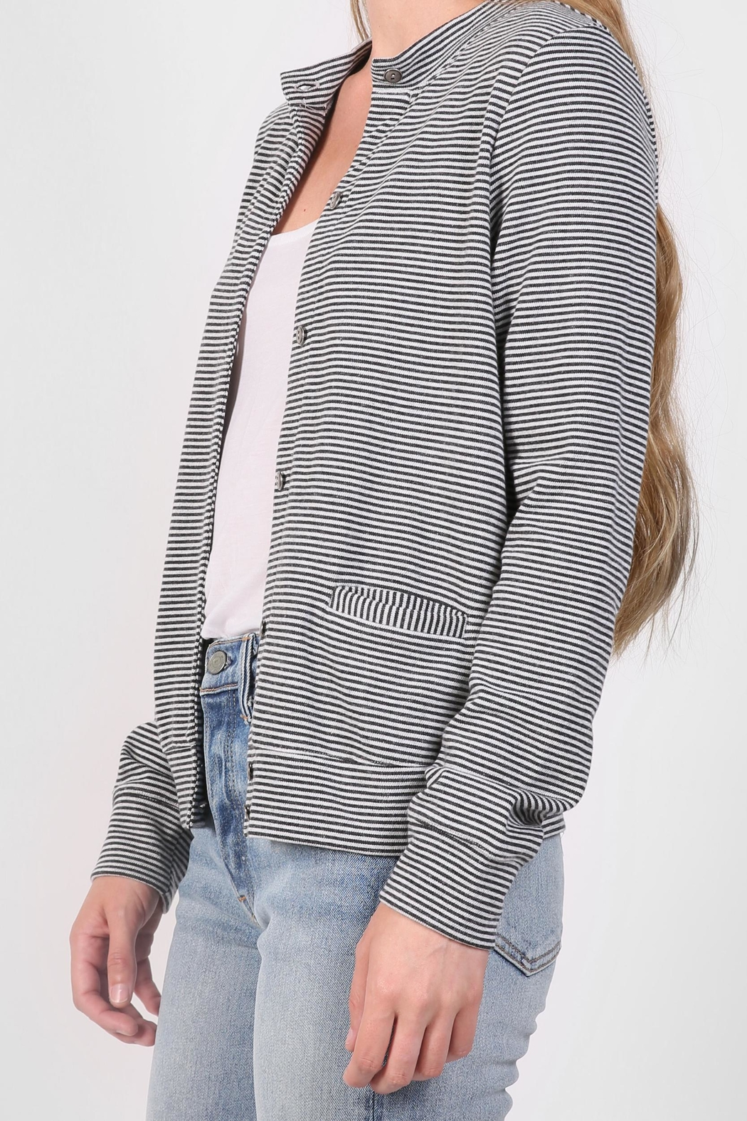 The Lady & The Sailor Striped Cardigan Sweater - Front Full Image