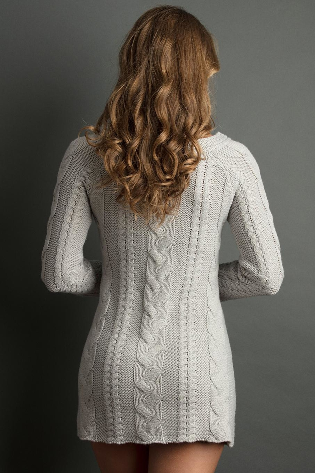 The Lemon Collection Boyfriend Cableknit Sweater - Front Full Image
